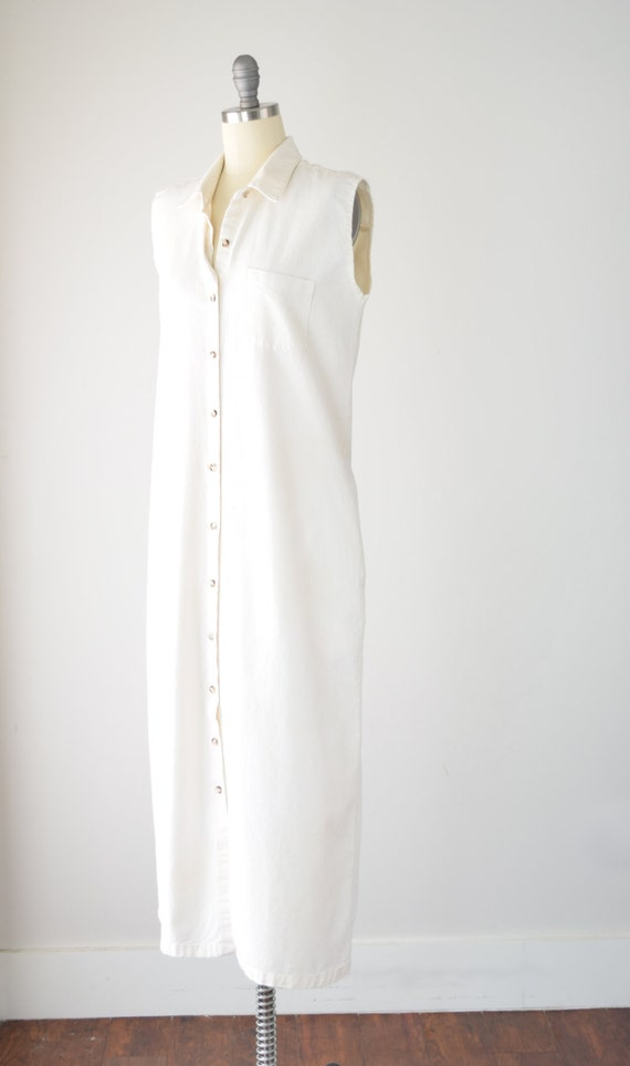 80s Cream Maxi Shirt Dress Lg / Cotton Shirt Dres… - image 3