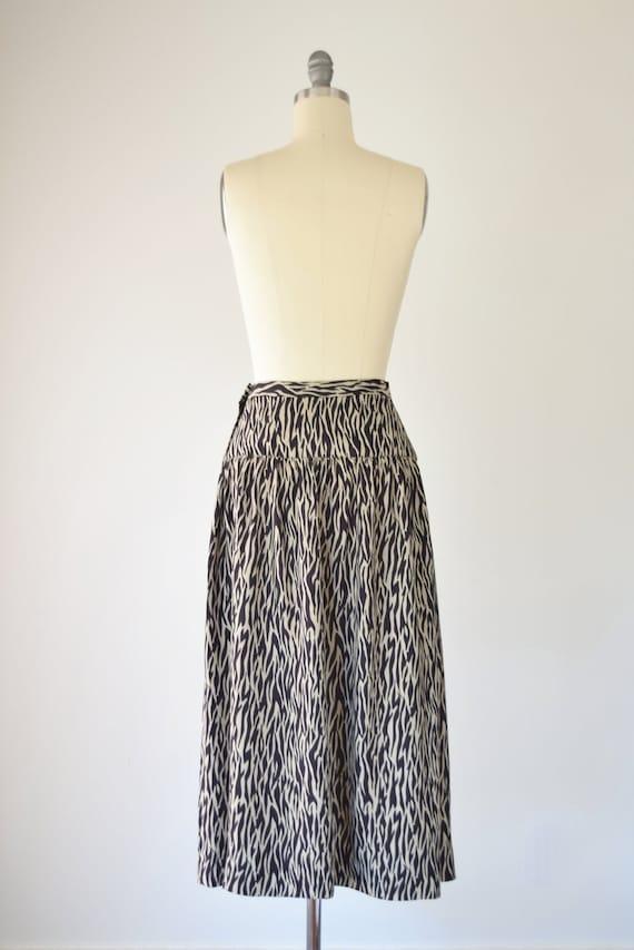 Zebra Print Midi Skirt XS / Brown Zebra Print Ski… - image 5