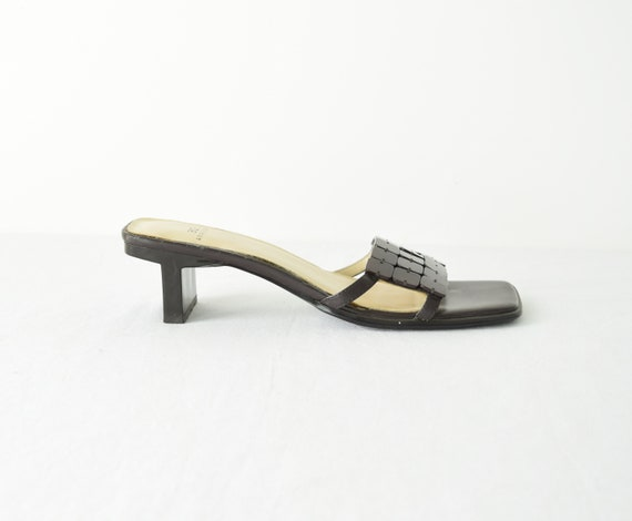 Leather Square Toe Sandals 5M / Brown Leather San… - image 4