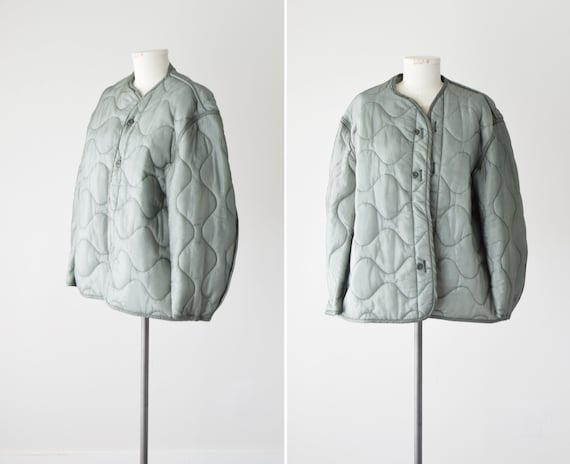 Green Army Liner Jacket XL / Oversized Quilted Jac