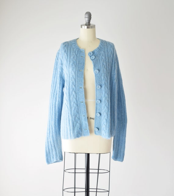 Blue Mohair Sweater Med / Mohair Cardigan / Hand … - image 3