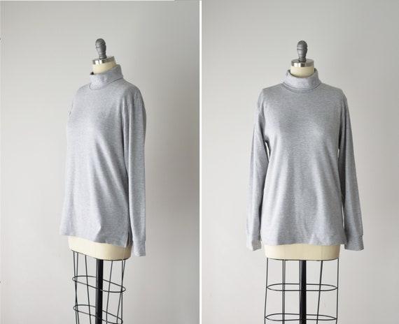 Vintage Turtleneck Med/ Knit Turtleneck/ Grey Pull