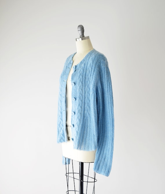 Blue Mohair Sweater Med / Mohair Cardigan / Hand … - image 4