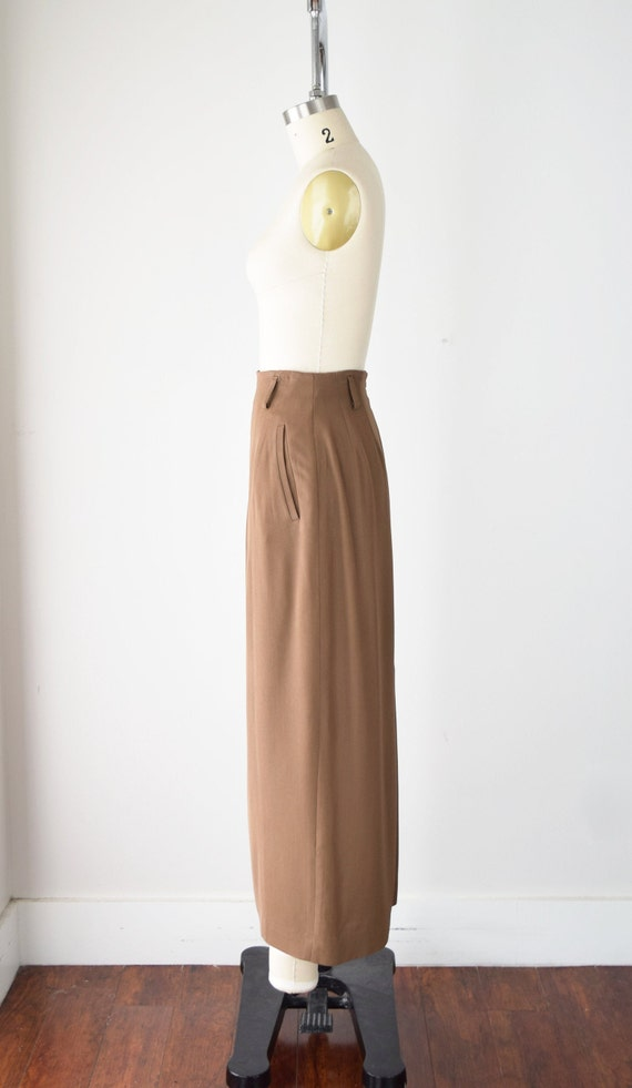 Camel Wool Blend Maxi Skirt Sm / Worsted Wool Max… - image 4