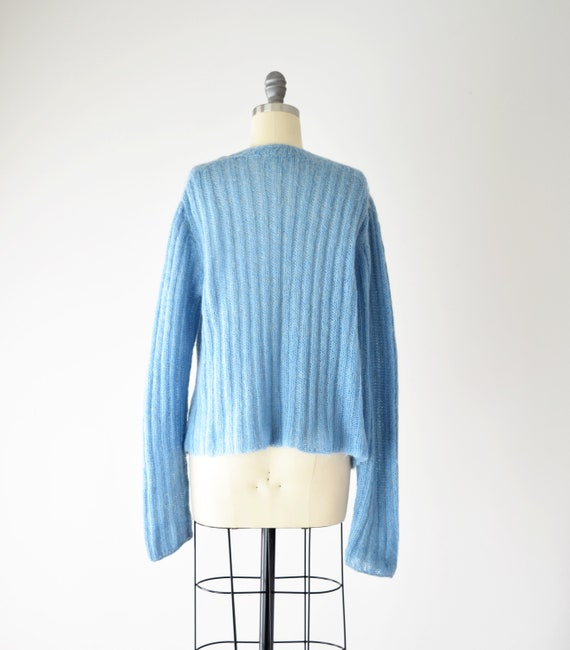 Blue Mohair Sweater Med / Mohair Cardigan / Hand … - image 5
