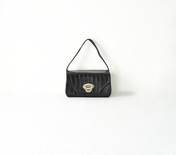 Mini Croc Embossed Box Purse / Black Rectangular B