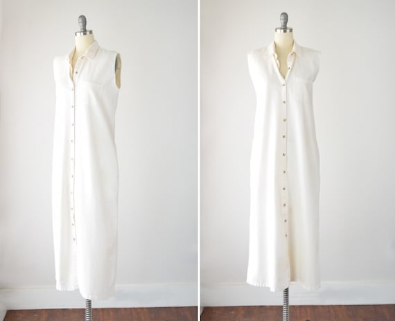 80s Cream Maxi Shirt Dress Lg / Cotton Shirt Dress