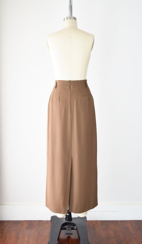 Camel Wool Blend Maxi Skirt Sm / Worsted Wool Max… - image 5