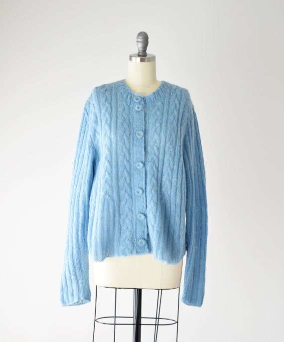Blue Mohair Sweater Med / Mohair Cardigan / Hand … - image 7