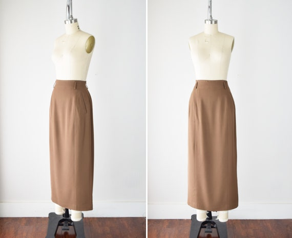 Camel Wool Blend Maxi Skirt Sm / Worsted Wool Maxi