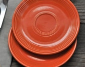 2 Homer Laughlin Genuine Fiesta Red Saucers, Serving Plate, Replacement, Original Fiesta, Bright Red, Collector Gift, Fiesta Lover, Snack