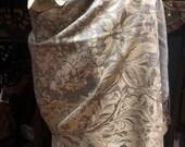 Nemesis Vintage Gray cream gold Flower Brocade Pashmina Scarf Wrap