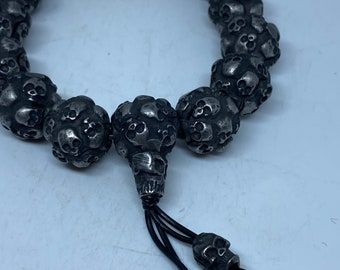 - Original design and made by Defy Small Size Biker and Gothic style Dark style jewelry  Unique design The Raven Skull Bracelet