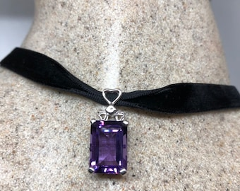 Sterling Silver 1.45 Ct Natural Round Lilac Purple Amethyst Drop Pendant 1980/'s Vintage