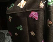 Vitage Styled mixed Colored Butterfly Embroidered Pashmina Shawl