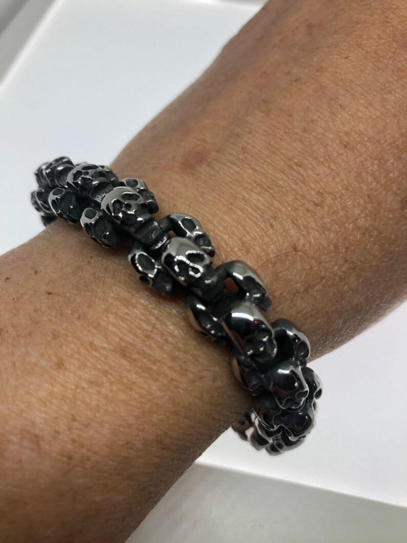 553d10781bd8a Vintage style unisex men stainless steel skull bracelet
