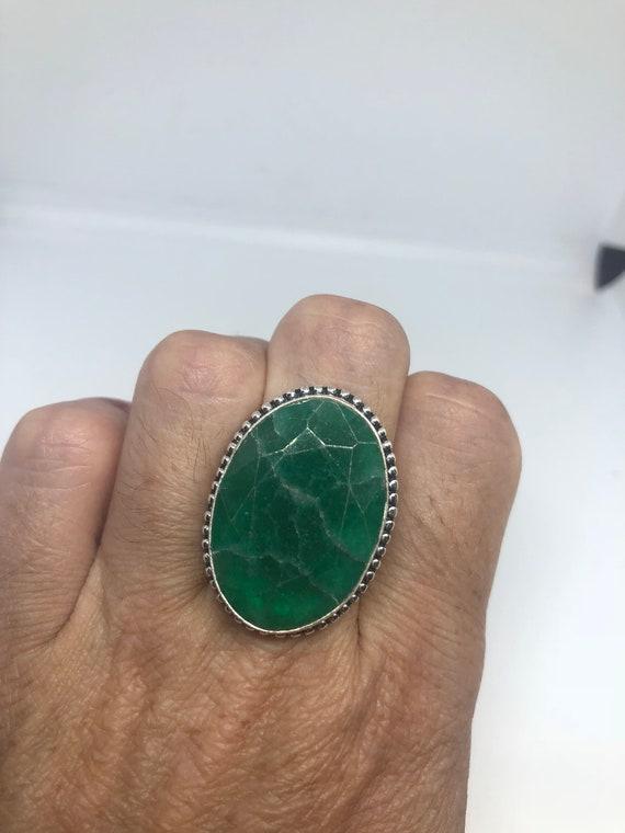 Antique Green Emerald Chrysopraise Silver Ring