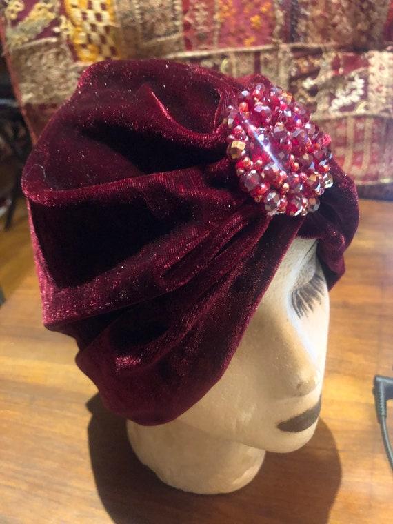 Vintage Burgundy stretch velvet Deco Turban Hat