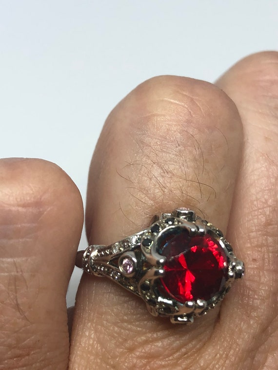 Vintage Handmade Red Tourmaline look crystal 925 Sterling Silver gothic Ring