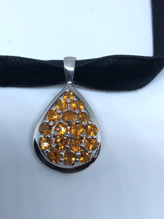 Nemesis Vintage Handmade Sterling Silver Golden lemon Citrine Pendant