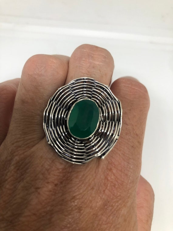 Antique Green Emerald Chrysopraise spider web Ring
