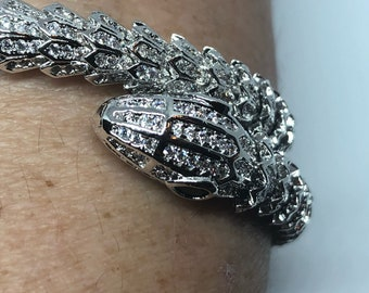 Vintage clear diamond and Emerald toned Austrian Crystal snake bangle Bracelet