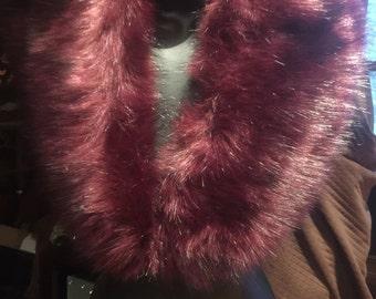 Nemesis Vintage flapper Style Antique Burgundy Colored Faux Fox Stole Wrap