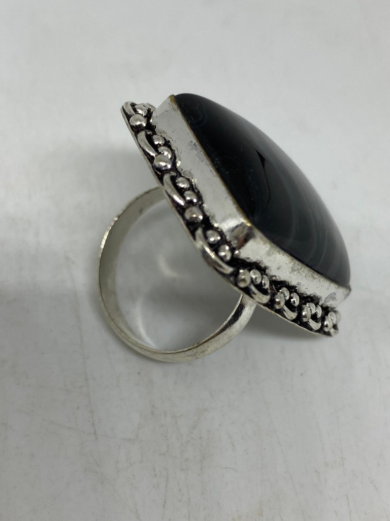 Vintage Black and White agate Cocktail Ring