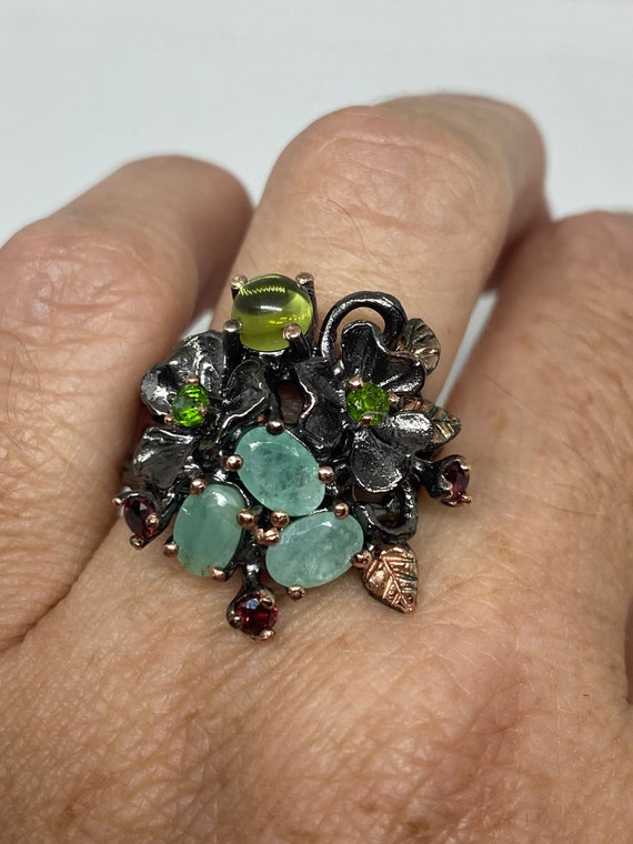 Vintage green emerald Ring 925 Sterling Silver