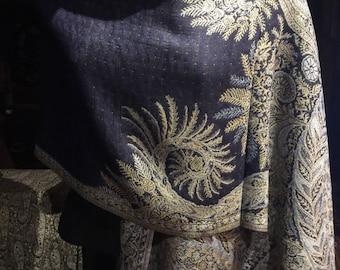 Vintage Navy Blue Paisley Brocade Pashmina Scarf Wrap Shawl