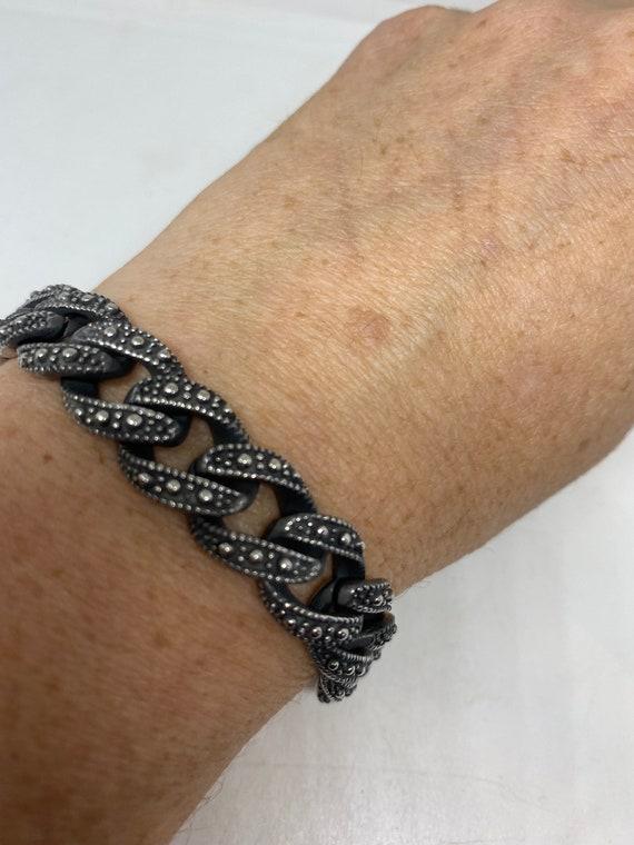Vintage style unisex men stainless steel skull bracelet