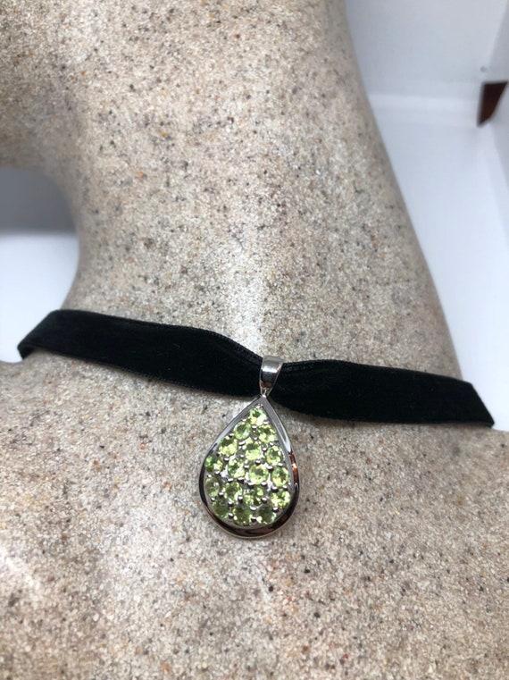 Vintage Handmade 925 Sterling Silver Genuine Peridot Pendant