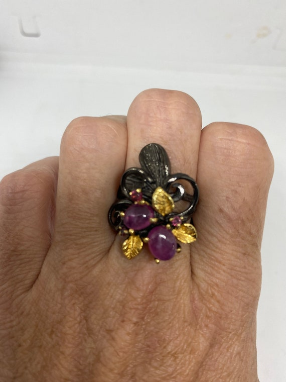 Vintage Ruby Ring 925 Sterling Silver - image 2