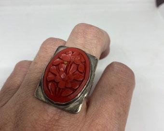 Antique Cinnabar Ring fillgree 925 sterling silver size 6.75