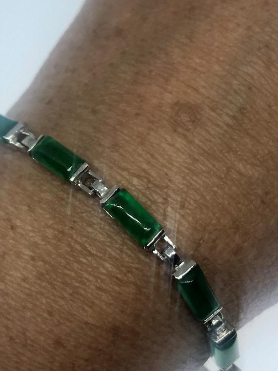 Vintage Green Jade Bracelet Silver white bronze