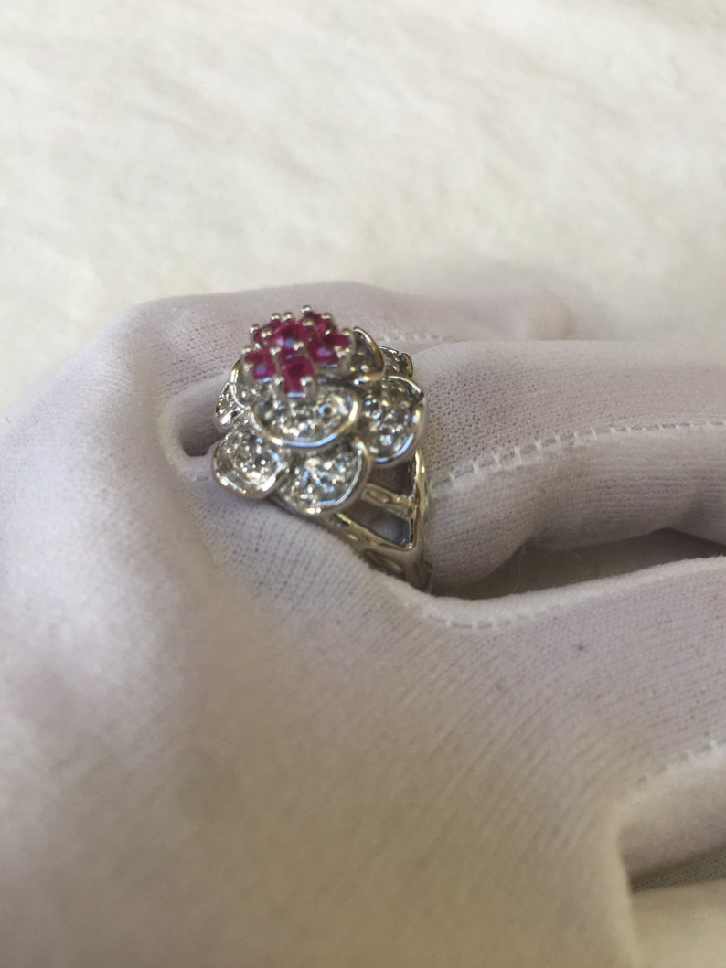 Vintage Handmade Pink Toumaline 925  Sterling Silver gothic flower Ring