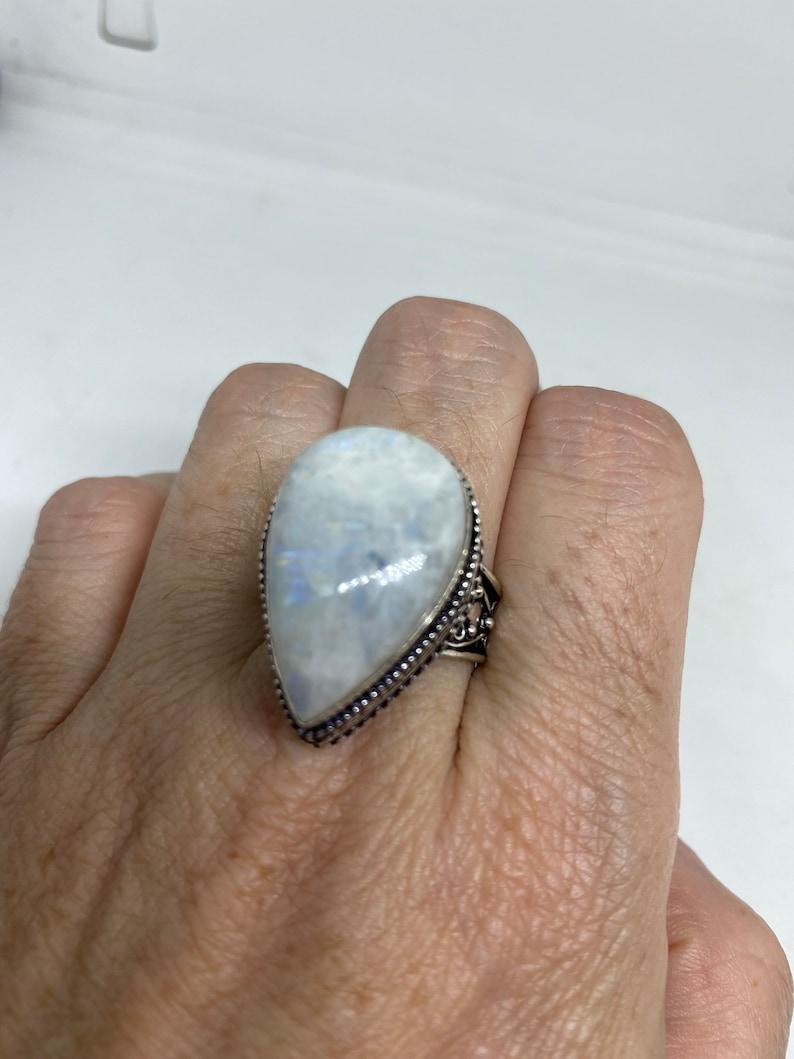 Vintage Genuine Blue White Rainbow Moonstone ring