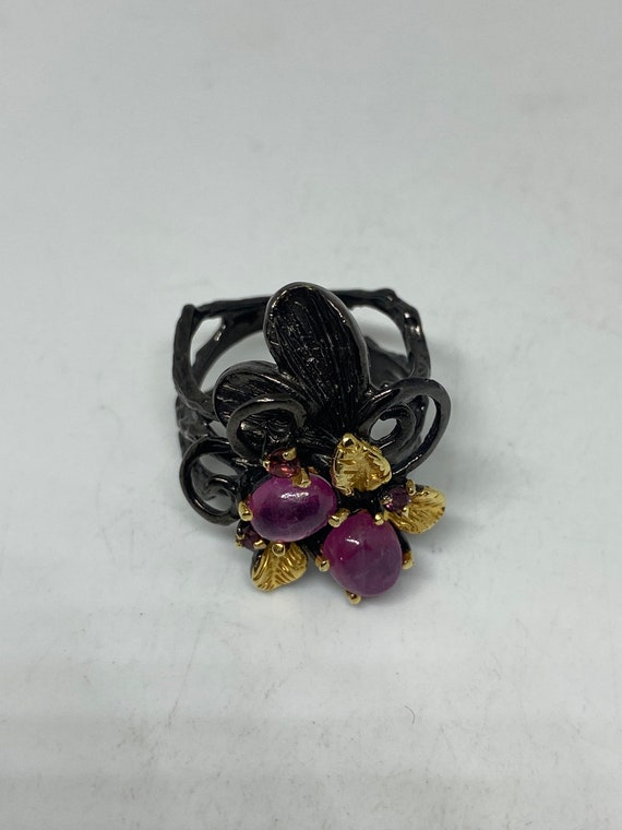 Vintage Ruby Ring 925 Sterling Silver - image 6
