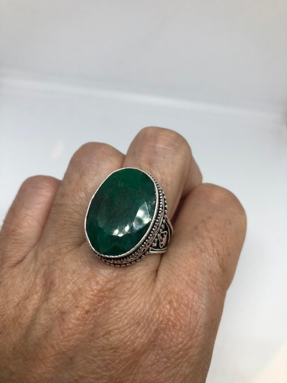 Antique Green Emerald white bronze silver ring