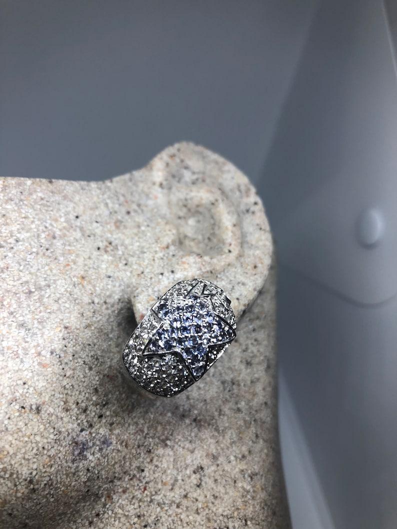 Nemesis Vintage Handmade Sterling Silver deep blue iolite star earrings