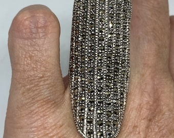 Vintage Handmade Genuine Swiss Marcasite Setting 925 Sterling Silver Gothic Ring