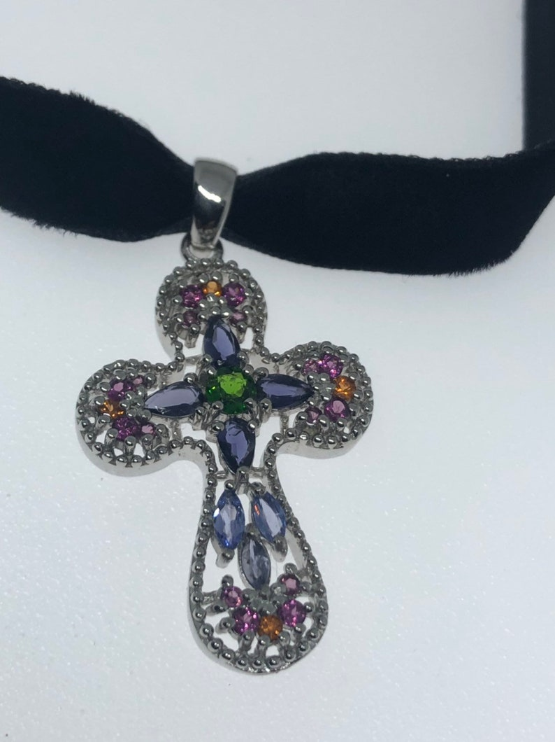 Vintage Handmade 925 Sterling Silver mixed gemstone Cross Antique Pendant Necklace