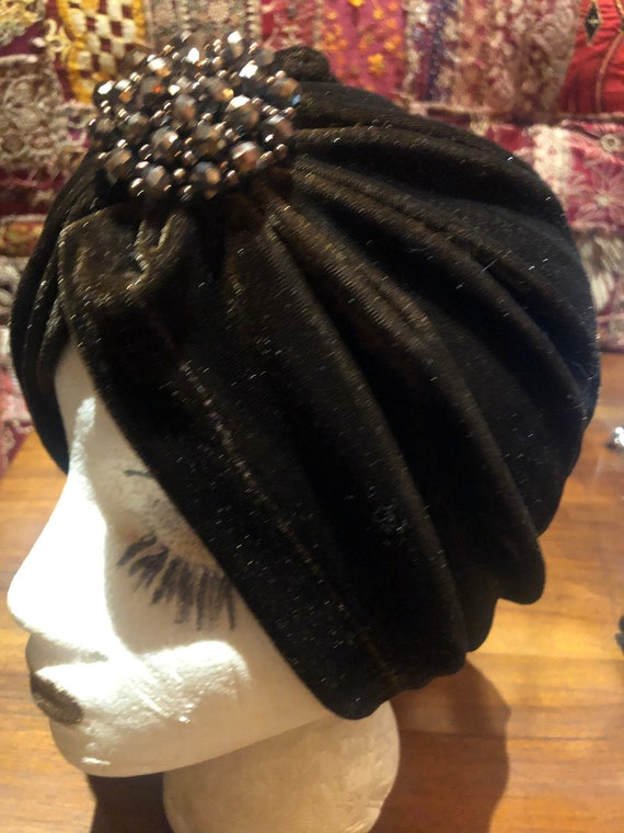 Vintage Brown stretch velvet Deco Turban Hat