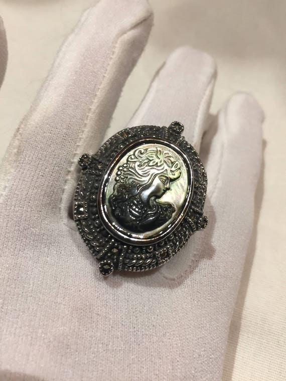 Antique White mother of pearl cameo marcasite fill