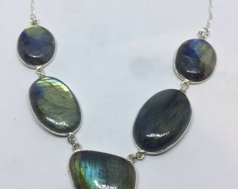 Vintage green Labradorite 925 sterling silver necklace choker