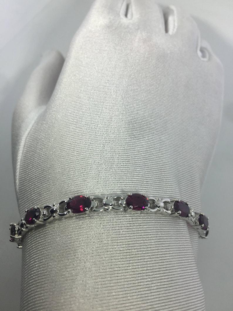 Vintage Bohemian Red Garnet Bracelet 925 Sterling Silver