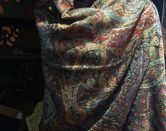 Vintage Black Red Paisley Brocade Pashmina Scarf Wrap shawl
