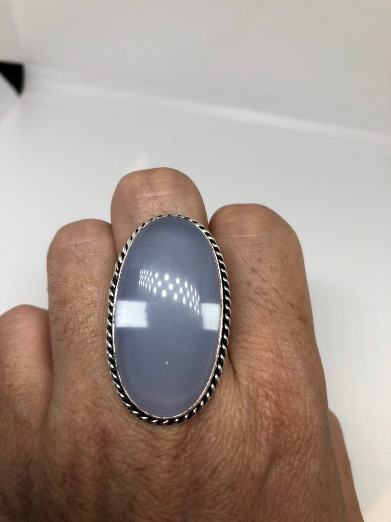 Vintage Genuine Blue Chalcedony an inch long ring