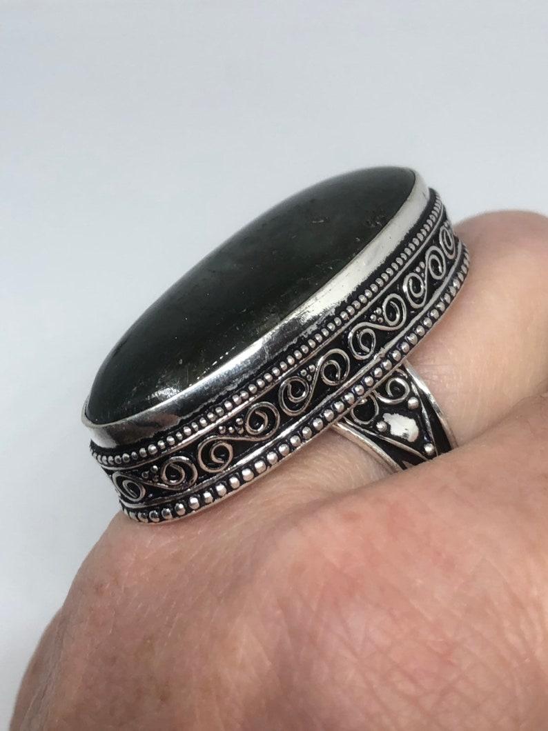 Vintage Large Labradorite Rainbow Moonstone stone silver ring