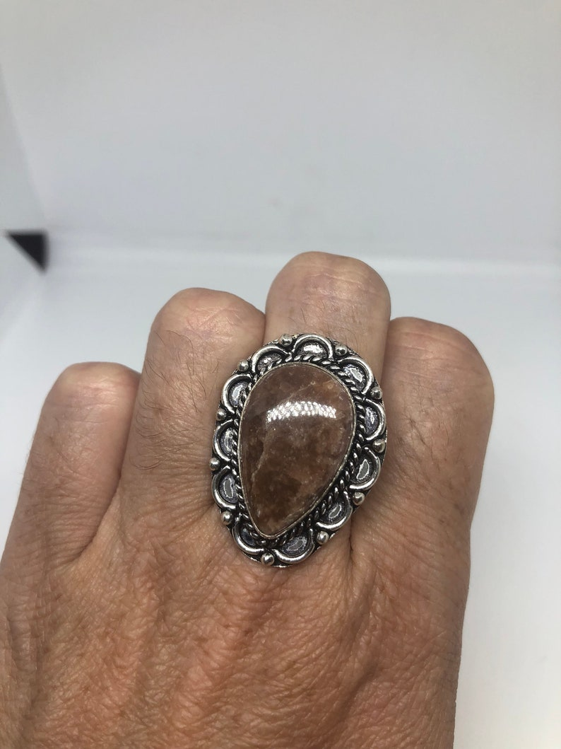 Vintage Handmade Sandstone agate white bronze Silver Gothic Ring
